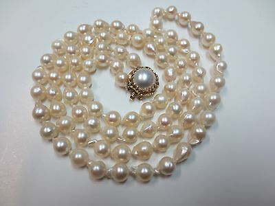 14k VTG Cultured Pearls Necklace w/ 14K Solid Yellow Gold Mabe Pearl Clasp 30""