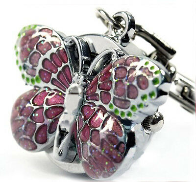 DBS Pink Butterfly Key Ring Mens Womens Pocket Watch Quartz Montres Reloj Gift