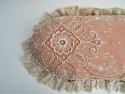 "Antique vintage French tambour lace & orange color pillow 30"" x 12"""