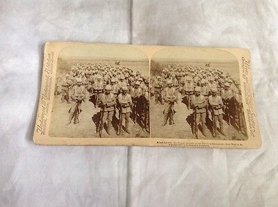 Stereoscope card - c. 1900 Guards Brigade on the March to Kroonstadt - Boer War