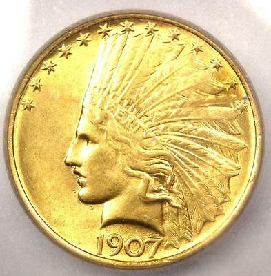 1907 No Motto Indian Gold Eagle $10 Coin - Certified ICG MS64 - $5,750 Value!