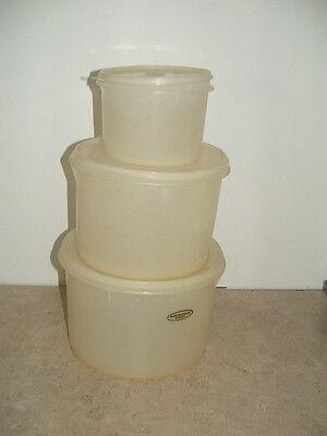 set of 3 retro tupperware canisters