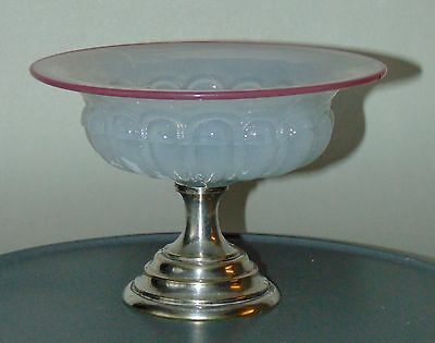 ANTIQUE Glass Compote FRENCH OPALINE Bowl CENTERPIECE