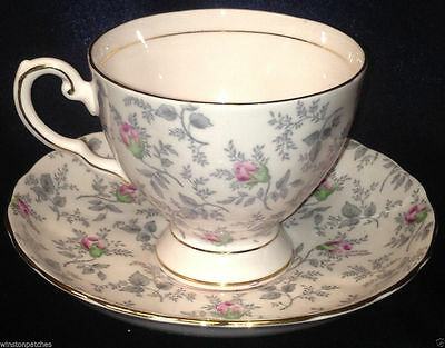 Tuscan China Blush Pink Rose Chintz Grey Fern  #896H Teacup and Saucer Vintage