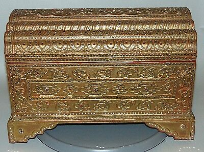 STUNNING ANTIQUE C1890 Asian BURMESE Gold Leaf JEWELED Red Enamel Box CHEST