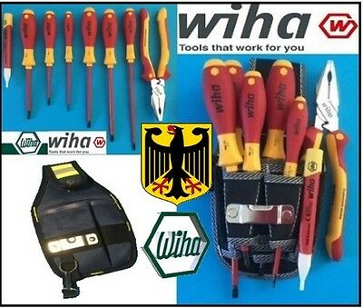 New Wiha 8 Pce Insulated Set 6 x  Screwdrivers - Pliers -Volt detector - Pouch