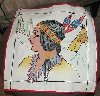 Vintage 1920s Flapper Boudoir Pillow Case  Embroidered Native Americn Lady