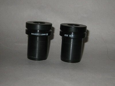(2) Bausch & Lomb 20x WF Eyepieces for Stereo Zoom Microscope