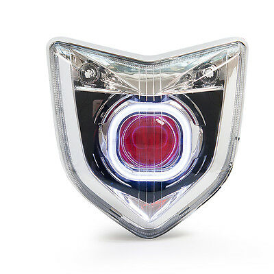 KT LED Angel Halo Eye Projector Headlight Assembly for Yamaha FZ1N 2006-2012 Red