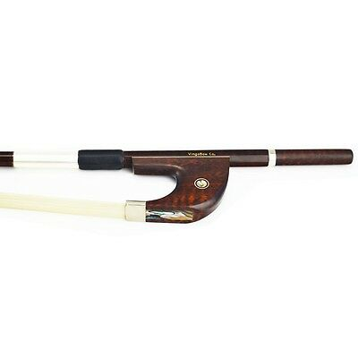 3/4 Pro. Snakewood German BASS BOW Warm Tone Fast Response TOP Level Hair!
