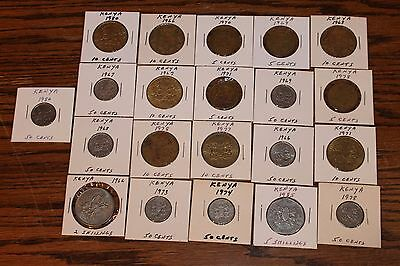 Lot of 21 coins from Kenya - CENTS & SCHILLING - VGC