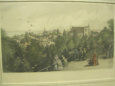 "1872 ORIGINAL View ""City of Cleveland"" Ohio FRAMED AND MATTED COLORED PRINT"
