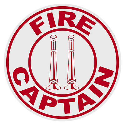 Fire Captain Vertical Bugles Small Round Reflective Emergency Firefighter Decal