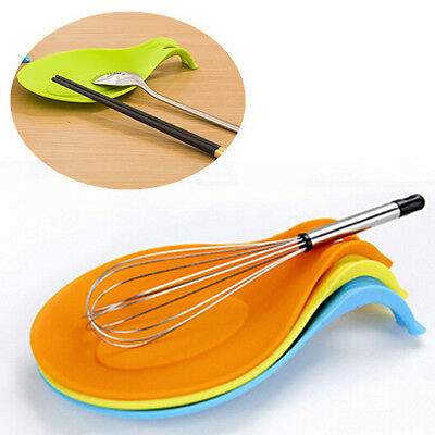 New Silicone Spoon Rest Heat Kitchen Utensil Spatula Holder Cooking Tool SU
