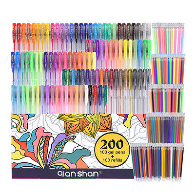 200 Piece Gel Colored Pen Set 100 Pens With 100 Refills For Adult Coloring Books