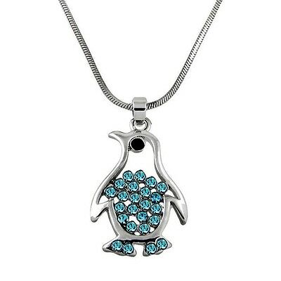 Beautiful Penguin Pendant and  Necklace Blue Crystals Rhodium Plated Gift Boxed