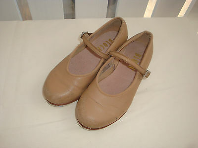BLOCH, Girls Fantastic Tan Leather Tap Shoes Size 11.5