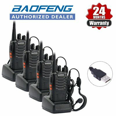 4 x Baofeng BF-888S UHF Walkie Talkie 2 Way Long Range Radio + UV-5R Earpiece UK