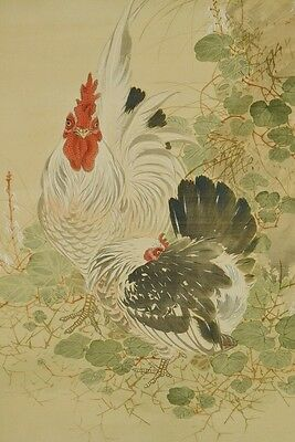 Hanging Scroll Japanese Painting Hen Cock chicken Ink  Antique Japan art a986