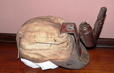 Early 1900's Cloth Miners Hat Cap Helmet with Barta Lamp Holder & Oil Lamp