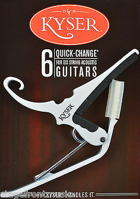 Kyser  Quick Change White Capo For Acoustic Guitars - Made In Usa