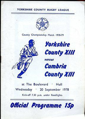 Yorkshire County XIII v Cumbria County XIII - 20th September 1978 - Hull
