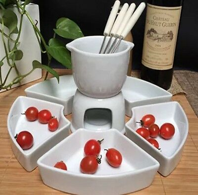 Ceramic Chocolate Cheese Fondue Set Stainless Steel Forks Plates Kitchen Gift UK