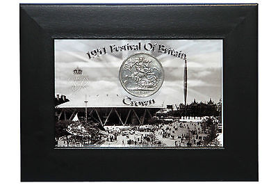 1951 Festival Of Britain Commemorative Crown Coin In Display Frame. Collectable
