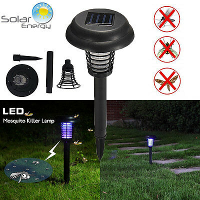 Solar Energy UV LED Mosquito Fly Bug Insect Zapper Killer Light Lamp With Trap