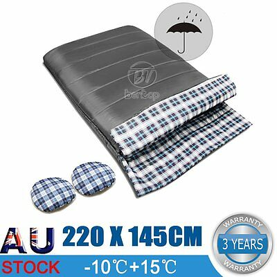 Double Outdoor Camping Envelope Twin Sleeping Bag Thermal Hiking Winter Grey