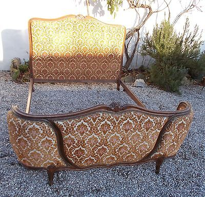 bed, double bed, vintage french upholstered bed, lit courbé