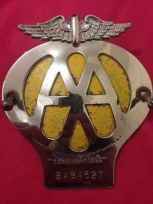 VINTAGE CAR AA 1950s BREAKDOWN RECOVERY AUTOMOBILE BRITISH EMBLEM BADGE 57-59