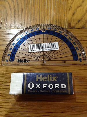 New Helix Eraser And Protractor Set School Office Home Write Pencil Case