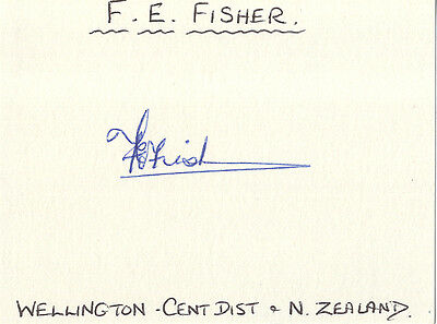 New-Zealand Test Cricket - Eric Fisher Signed Card.