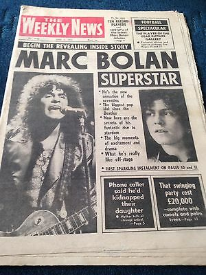 The Weekly News Vintage Newspaper 3.6.72 Marc Bolan Superstar Feature