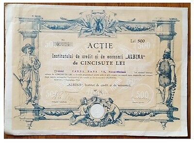 """500 Lei Share Bond issued in 1922 by """"Albina"""" Bank Sibiu with cupons"""