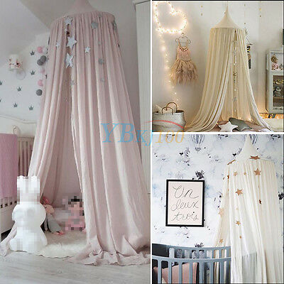 Cotton Cloth Bed Mosquito Mesh Canopy Kids Children Round Dome Bedding Net Pink