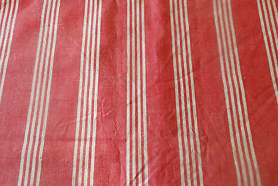 Antique 19thc Softened Berry Red Ticking Fabric ~Rustic French Farmhouse textile