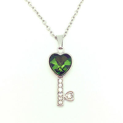 Fashion Jewelry Key Rhinestone Green Heart Pendant Chain Necklace Silver New