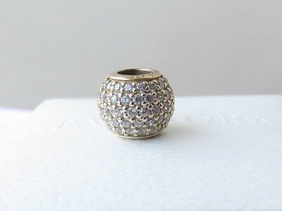 100% Authentic Genuine Pandora 14K Gold Pave Ball Cz Charm