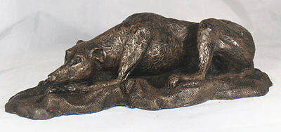 Greyhound Laying Down - Cold Cast Bronze Resin Sculpture by John Rattenbury