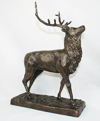 Stag - Cold Cast Bronze Resin Sculpture by John Rattenbury