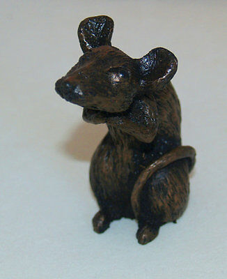 Mouse Sitting (medium) - Cold Cast Bronze Resin Sculpture by John Rattenbury