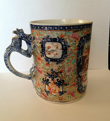 Large Early Hand Painted Chinese Ceramic Tankard