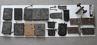 BULK LOT 19x Antique Victorian cast iron door locks & keys architectural salvage