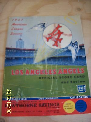Very Collectible Old 1961 Los Angeles Angels Baseball Score Card Magazine