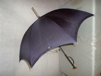 *Vintage Ladies Navy Paragon Fox Umbrella w/ Leather Clad Handle & Wrist Strap*