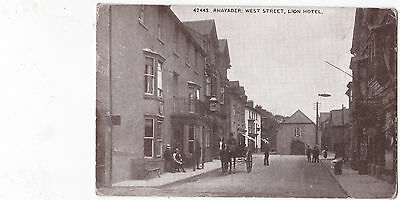 Rhayader, West Street and Lion Hotel No 42443 by Photochrom. p/m 1922