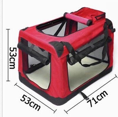 Red Pet Soft Crate Portable Dog Cat Folding Travel Cage Kennel