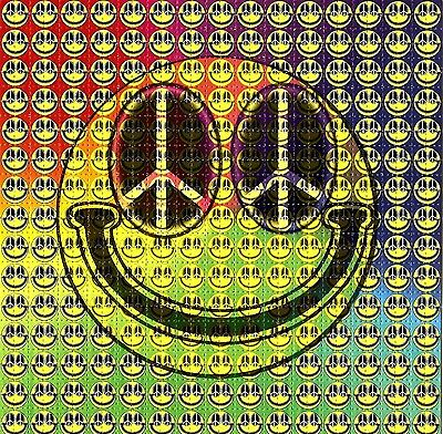 Hippy Smiley Face Blotter Art Psychedelic Perforated Print Acid Lsd Free Hofmann